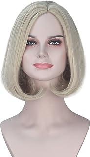 Miss U Hair Synthetic Short Wavy Ash Blonde Hair Bob Style Movie Costume Wig Halloween