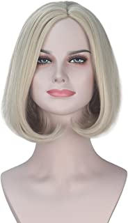 iCos Synthetic Girl Short Wavy Ash Blonde Hair Bob Fashion Party Wig for Women Halloween
