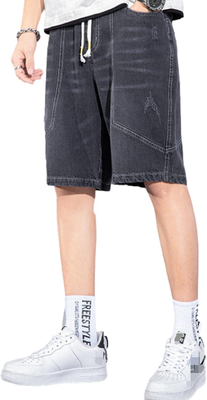 Katenyl Men's Thin Straight Denim Shorts Fashion Large Size Loose Casual Trend