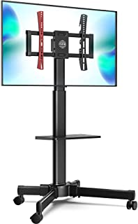 FITUEYES Mobile TV Stand with Laptop Shelf Rolling TV Cart for 27 to 55 Inch LCD LED Plasma TVs, Tilt and Height Adjustabl...