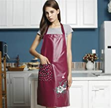 Apron Designs Home Kitchen Apron Fashion PU Waterproof Apron (Dark Red)