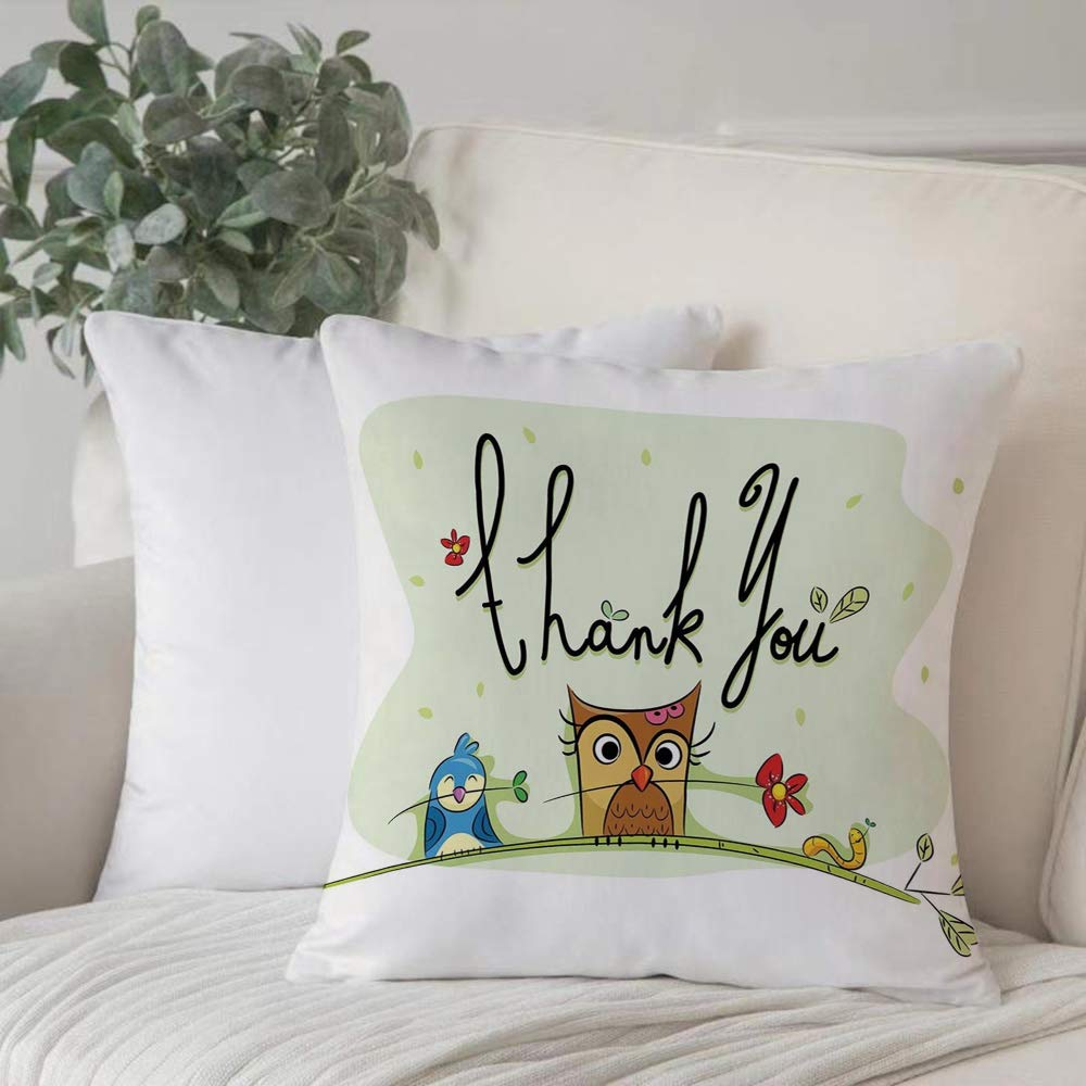 Pillowcase Cushion Coveranimal Decor Chubby Little Birds Owl Worm And Sparrow And Flowers With Thank You Qhome Decor Cushion Cover Cozy Square For Sofa Throw Pillow Case 45x45cm 18in X 18in Buy Online In