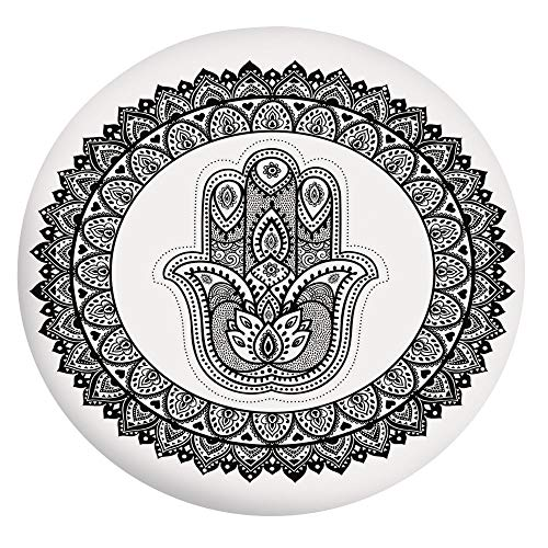 Elastic Edged Polyester Fitted Table Cover,Ring Shapes with Floral Motifs Ancient Ethnic Culture Traditional Symbol Monochrome Tablecloth,Fits Round Tables 24',for Indoor and Outdoor Events Black Whit