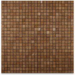 Noce 1X1 Travertine Tumbled Mosaic Tile