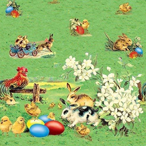 Toile Cirée Nappe Table au Mètre Pâques Oeufs de Paques Lapin de Pâques Taille et Dessin Éligible en Carré Rond Oval (110 cm Rond, K614-1)