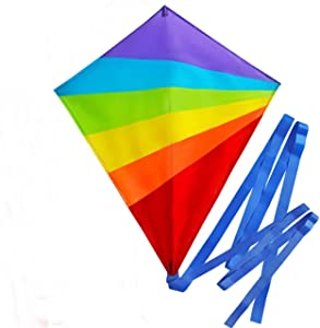 SoGreat Colorful Large Diamond Kite for Kids with Long, Flowing Tails, Rainbow Colors and Durable Polyester Fabric, Includes Plastic Handle and 40 Meters of String for Girls, Boys