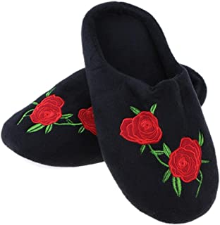 Zibuyu Women's Black Velvet Solid Rose Embroidered Anti-slip Soft Slippers 42/43