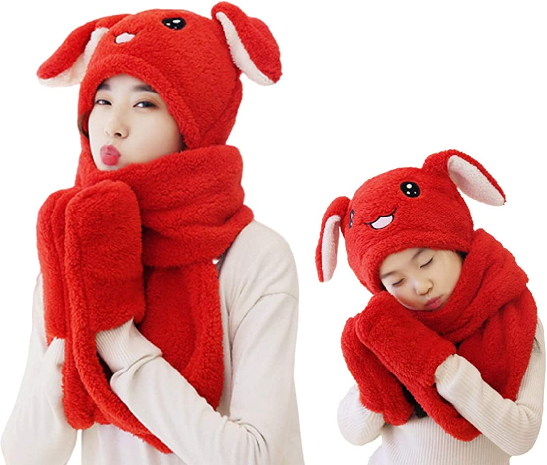 Hat Scarf Gloves 3-in-1, Winter Warm Fleece Lovely Hats with Moving Rabbit Ears for Parent-Child 2 Piece Set