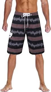 unitop Men's Swim Trunks Colortful Striped Beach Board...