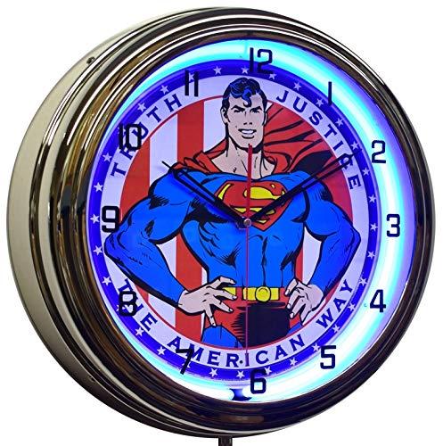 Superman Classic The American Way Neon Clock Game Room Decor