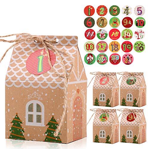 FLOFIA 24 Cajas Cajitas de Caramelos Navidad Kraft Pequeñas Cajas Cartón Forma Casa con Pegatinas Navideñas Número 1-24 para Dulces Regalo Calendarios Adviento Suministro Navidad
