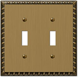 Amerelle Egg & Dart Double Toggle Cast Metal Wallplate in Brushed Brass