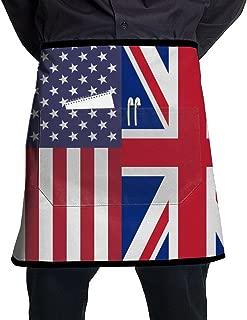 SAPOY Waist Aprons USA UK Flag Half Bistro Apron With Pockets For Men Women