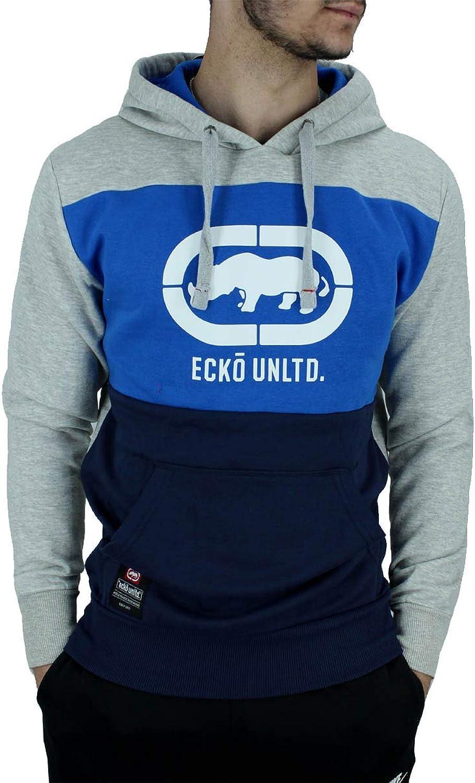 Ecko Men's Designer Long Sleeve Overhead Hoodie, Black blueee Grey