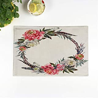 rouihot Set of 6 Placemats Watercolor Floral Wreath Made of Peonies Leaves Pheasant Feathers 12.5x17 Inch Non-Slip Washable Place Mats for Dinner Parties Decor Kitchen Table