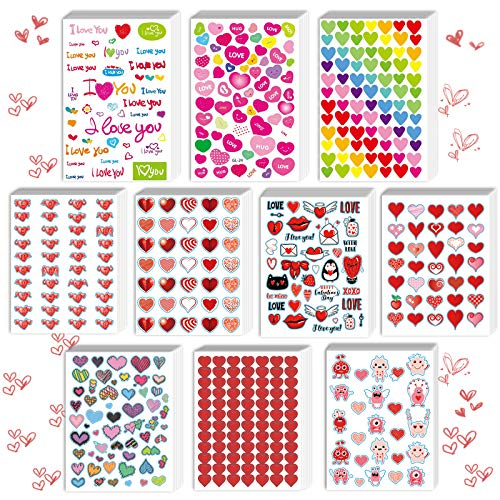 kortes 50-Sheets Valentines Heart Stickers with 10 Different Designs of 2140 pcs, Valentine's Day Stickers Party Supply Classroom Reward for Kids, Pack 01