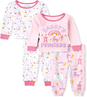 The Children's Place Baby Toddler Girls Princess Snug Fit Cotton Pajamas 2-Pack