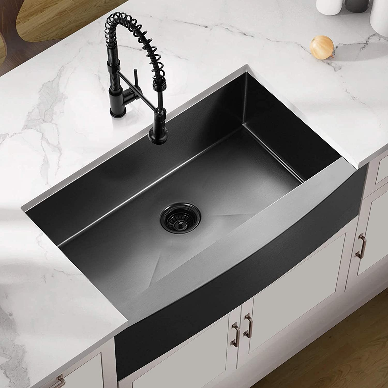 36 x 21 10 inch Black Apron Beauty products G Free shipping on posting reviews Front Farmhouse Sink Kitchen 16
