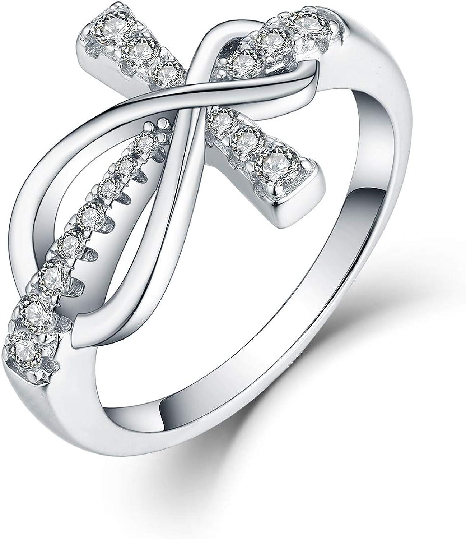 JO WISDOM 925 Sterling Silver Zirconia Infinity Max 86% OFF Cubic Ring Cross Alternative dealer