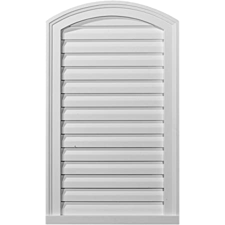 Decorative Ekena Millwork GVCA12X24D 12-Inch W x 24-Inch H x 1 7//8-Inch P Cathedral Gable Vent Louver