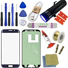 for Samsung Galaxy S6 Edge Screen Replacement, Sunmall Front Outer Lens Glass Screen Replacement Repair Kit for Galaxy S6 Edge 5.1' G925A G925F G925P G925T G925V G925R4 with UV Glue (Navy Blue)