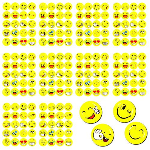 Oblique-Unique® 200 x Smiley Face Sticker I Verschiedene Stimmungen I 200 x Ø 20cm I Dekoration I Kinder Geburtstag
