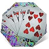 Paraguas tríptico automático Lucky Hand Poker Flush Paraguas tríptico automático Protector Solar Paraguas de Lluvia UV a Prueba de Viento Paraguas Plegable para Hombres Mujeres