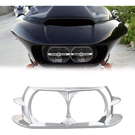 FM Chrome Headlight Trim Bezel For 1998-2013 Harley Davidson FLTR Road Glide