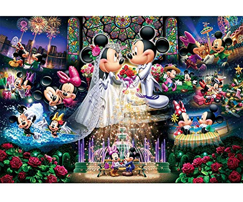 Karyees DIY 5D Diamond Painting by Numbers Kits 20x14In Disney Mickey&Minnie DIY 5D Diamond Canvas Painting by Number Full Drill Crystal Rhinestone Diamond Paintings Disney Mickey Mouse Wedding Wishes
