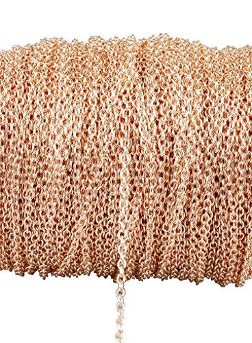Catena intrecciata in metallo placcato oro rosa, non sbiadisce, per creare gioielli fai da te, braccialetti, collane 3 x 4mm Cross chain