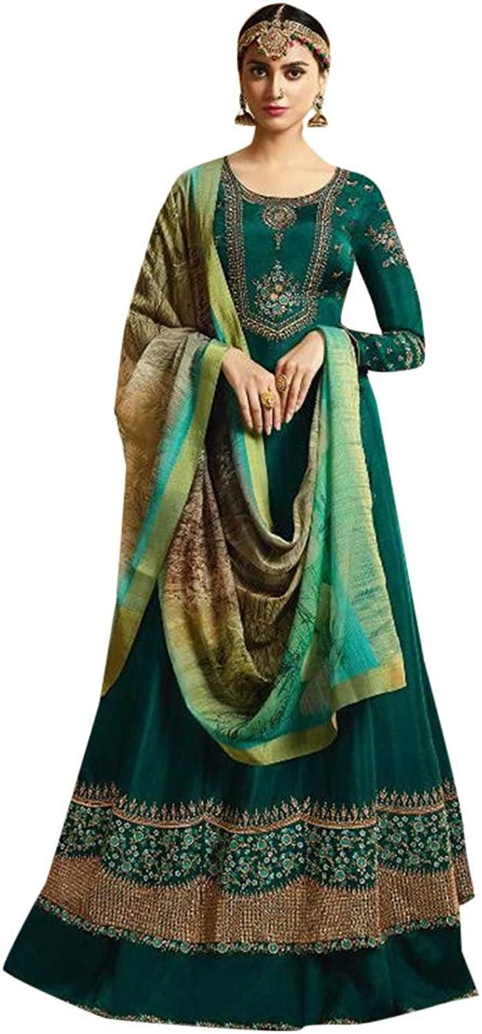 Evening wear Designer Abaya style Anarkali suit Heavy Embroidery for Women Indian Unstitched Cocktail dress 7548