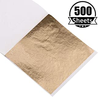 500 Sheets Imitation Gold Foil Sheets - KINNO Champagne Gold Leaf Paper for Picture Frames, Sculpture, Handcrafts, Furniture, Arts Decoration, Gilding, Nails, Paintings, Wall, 3.15 by 3.35 Inches