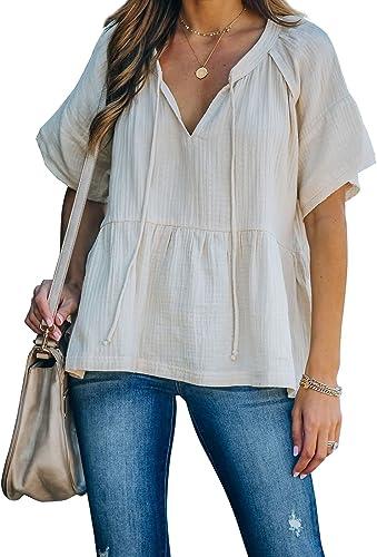 Thereadict Women's Loose Short Sleeve Low Hem Babydoll Flare Swing Shirts