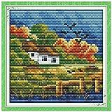 yanhonin Otoño paisaje DIY costura de la mano contado 14ct estampado de punto de cruz Kit de punto de Set Decoración de la casa