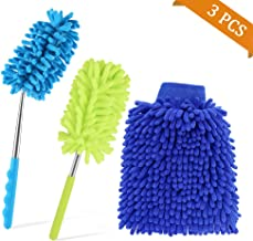 03 pieces - neon green 22 x 16 cm COM-FOUR/® 3x chenille cleaning and washing gloves in neon green 3er neon green microfibre