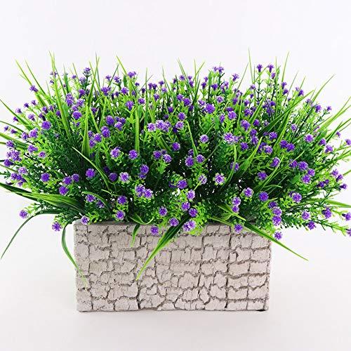 TVMALL - Ramo de flores artificiales para exteriores e interiores y exteriores, Morado, Paquete de 5