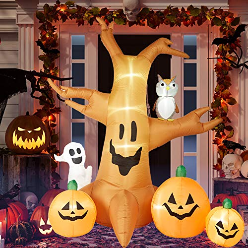 HOLLO STAR 8 Ft Halloween Inflatable Yard Decor, Blow Up Lighted Dead Tree with Ghost & Owl, Outdoor Indoor Holiday…