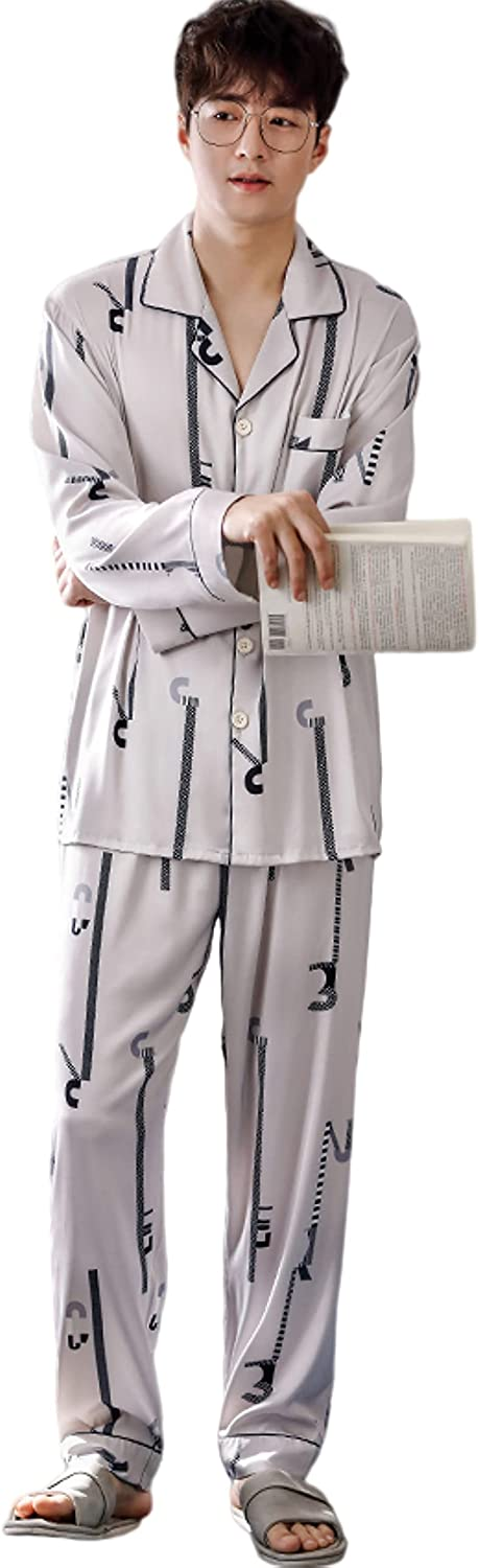 Men's satin long sleeved pajamas set letter print button closure loose casual home wear