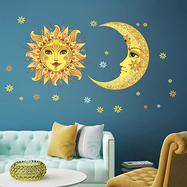 DecalMile Sun And Moon Stars Wall Decals Vinyl Removable Wall Art Stickers Kids Nursery Room Living Room Bedroom Wall Decor
