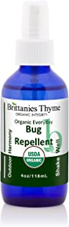 Organic Natural Bug Spray, 4oz Glass Bottle   USDA Certified Organic Insect Repellent. Only Top Quality Natural Bug Repellent. No Harmful Chemicals! Kid, Baby, Pet Safe