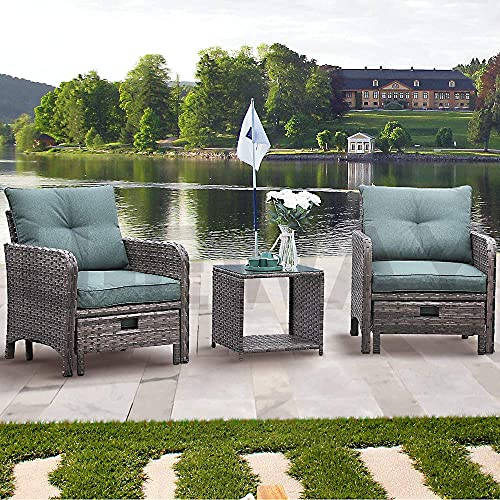 UEV Outdoor Furniture Conversation Set, Brown Wicker Sectional Sofa with Washable Thick Cushions, Glass Coffee Table for Garden, Pool, Backyard (5-Piece/Green Cushions)