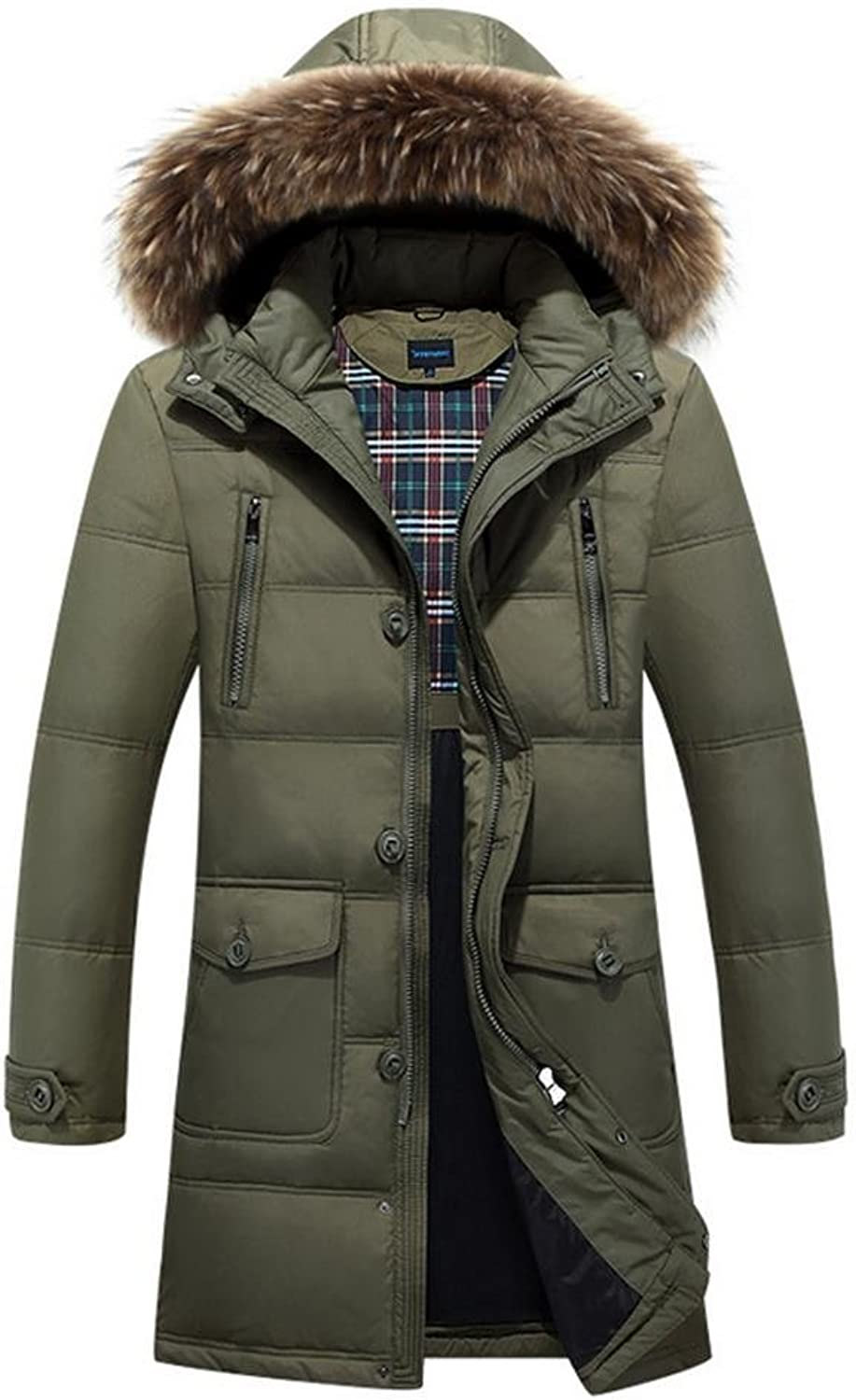 YANXH Winter Thicker Down Jacket Male in The Long Section Hooded Coat