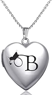 Locket Necklace That Holds Pictures Initial Alphabet Letter Heart Shaped Photo Memory Locket Pendant Necklace