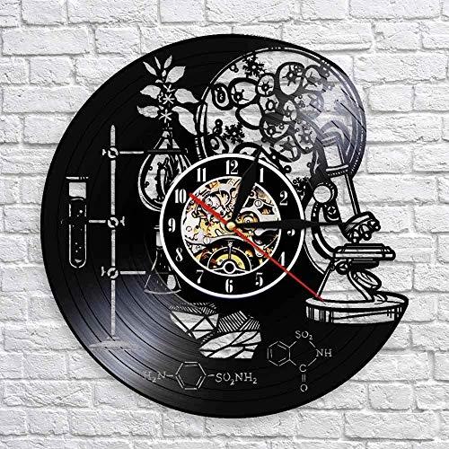 KDBWYC Reloj de Pared de Instrumento de Ciencia bioquímica de 30X30 cm, molécula de oxígeno, fórmula química, decoración artística de Pared, Reloj de Pared con Registro de Vinilo