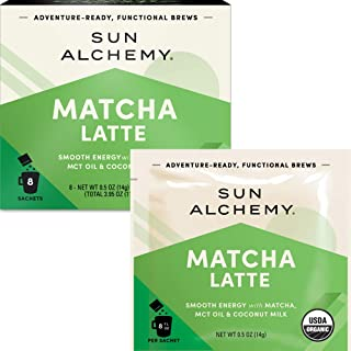 Sun Alchemy Matcha Latte, Smooth Energy with Organic Ceremonial Matcha, MCT Oil & Coconut Milk - 8 Sachets | Just Add Wate...