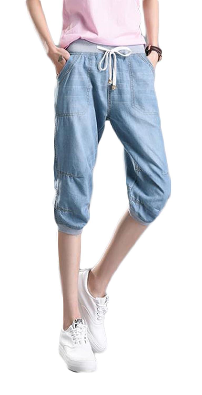 ZhongJue(ジュージェン) レディース 夏 ボトムス ひざ丈 デニムパンツ 薄手 ゆったり クロップドパンツ ウエストゴムショーパンツ 大きいサイズ 半ズボン