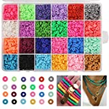 Greentime Clay Beads, 4500pcs Flat Round Spacer Clay Beads Heishi Beads for Bracelets Jewelry Making Kit Earring DIY Crafts (24Color 6mm)