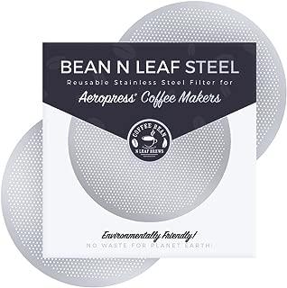Aeropressコーヒーメーカー用プレミアム再利用可能フィルター2枚 Aerobie Aeropress コーヒーメーカーモデル用 耐久性のあるステンレススチールと簡単に洗える金属。 2パック スチール製 Coffee Bean n Leaf Brews