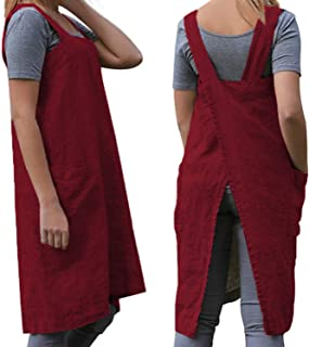 Women's Cross Back Pinafore Apron with Large Pockets Home Kitchen, Restaurant, Coffee house,Cooking Gardening Works