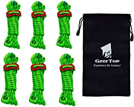 Geertop 6 Pack 4mm Reflective Tent Guide Rope Lightweight Guy Line Cord with Aluminum Adjuster Guyline Tent Cord Tensioner for Camping Hiking Backpacking - Essential Camp Accessories 13 Feet